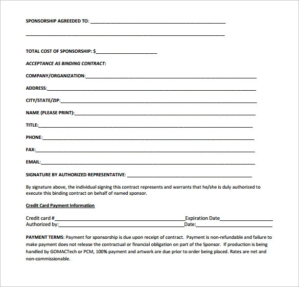 Sample Sponsorship Contract Template 14 Free Documents in PDF Word – Sponsorship Contract Template