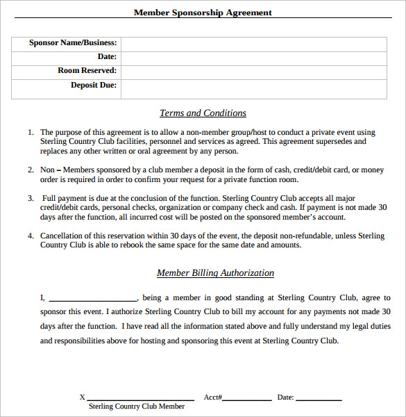 Printable Sponsorship Contract  Printable Sponsor Forms