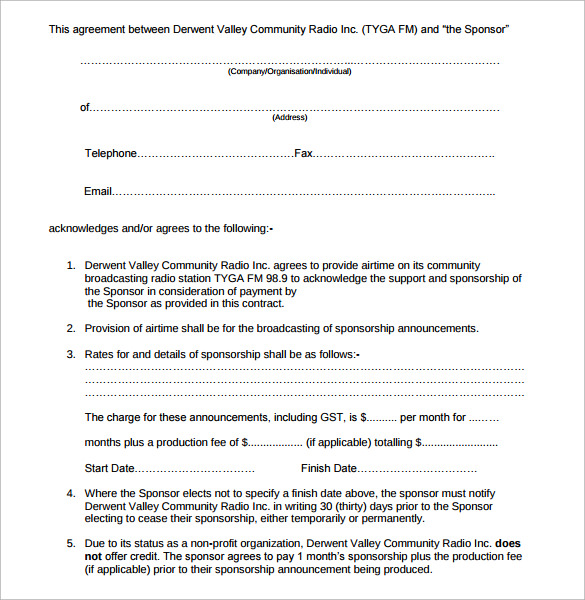 Sample Sponsorship Contract Template 14 Free Documents in PDF Word – Sponsorship Agreement Template