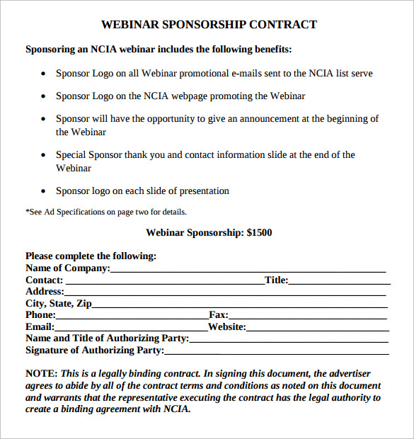 Sponsorship Contract Template U2013 15+ Samples, Examples, Format