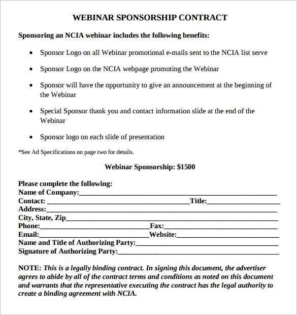 webinar sponsorship contract