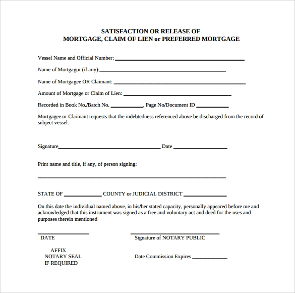 release of mortgage claim form