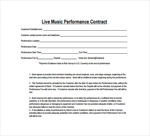 15 music contract templates sample templates for Band booking contract template