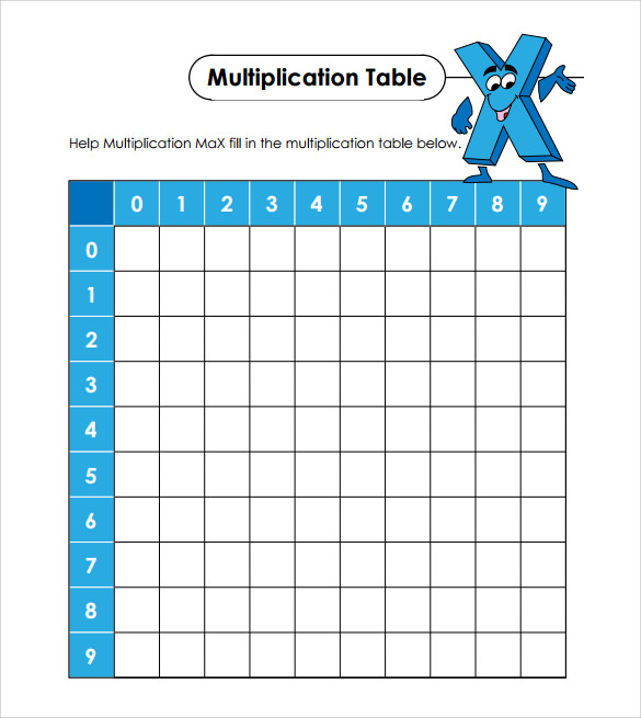 Sample Multiplication Table   Documents In Pdf Word