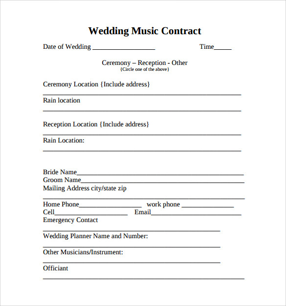 Free Wedding Music Contract Template