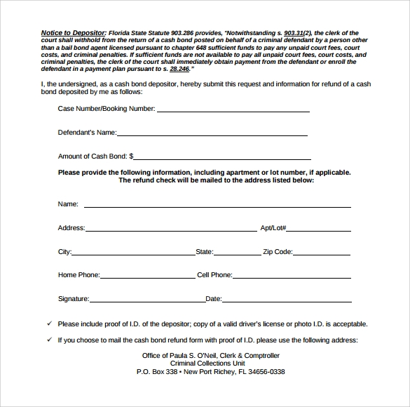 free download bond release form pdf