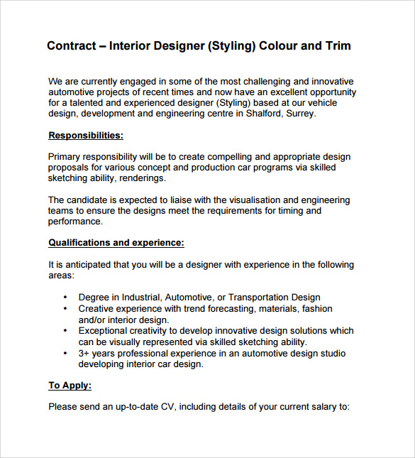 Interior design contract template 12 download documents - Interior design letter of agreement ...