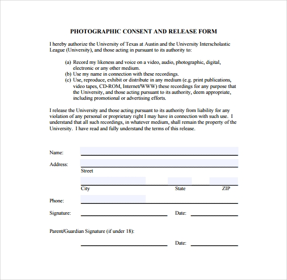 simple photographic image release form