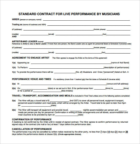 Band Contract Template   Free Samples Examples Format