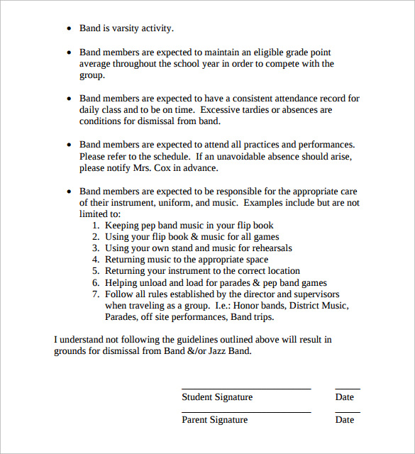 Band Contract Template - 13+ Free Samples, Examples, Format