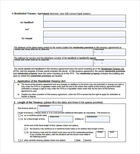 Sample Tenancy Contract   Documents In Pdf Word