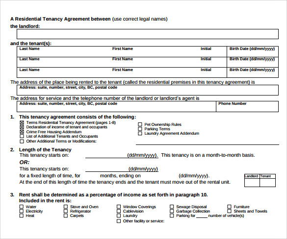 tenancy contract template pdf