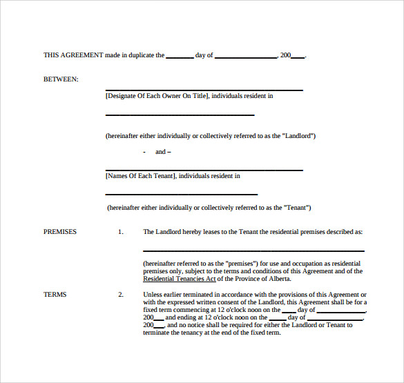simple tenancy contract template