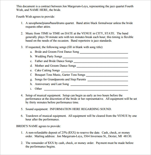 Band Contract Template 13 Free Samples Examples Format