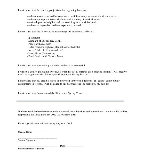Band Contract Template 21 Free Samples Examples Format