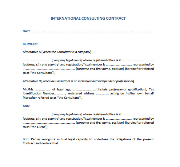 Consulting Contract Template Get Free Sample  VisualbrainsInfo