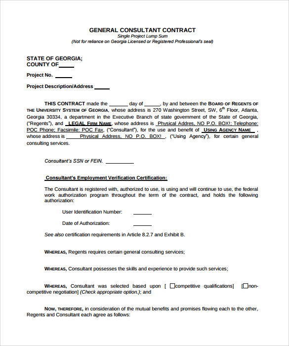 Consultant contract template 10 download free documents for Consultant contract template free download