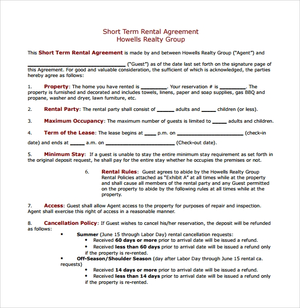 Short Term Rental Contract Form 11 Download Free Documents in PDF – Short Term Rental Contract Form