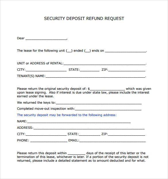 rental security deposit request form