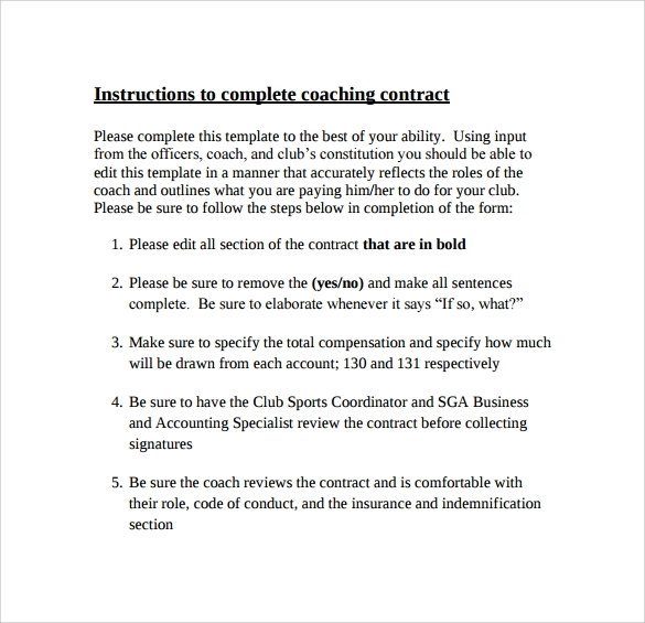 coaching contract instructions
