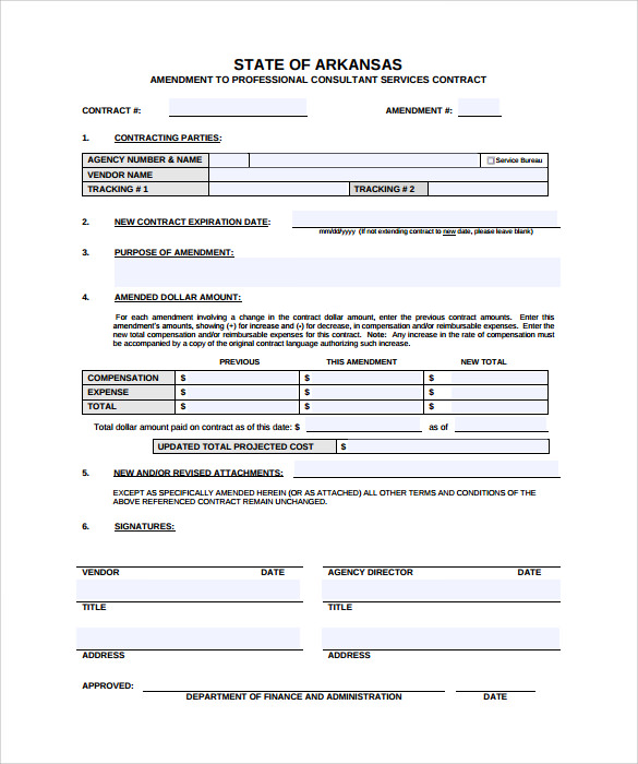 Sample Contract Amendment Template   Free Documents In Pdf