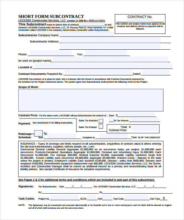 subcontractor bid form template - subcontractor contract template 10 download documents