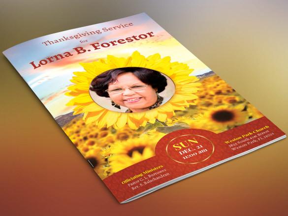 sunflower funeral program brochure template