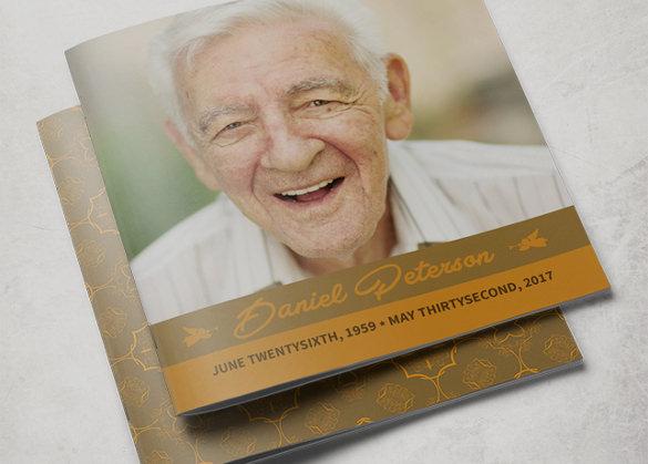 ornamental funeral program brochure template