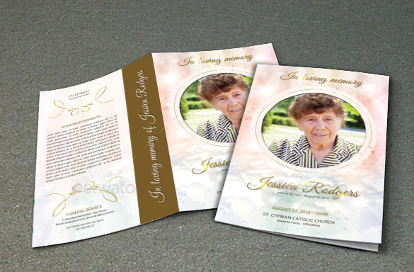 Funeral Program Brochure Photoshop Template Download  Funeral Template Download