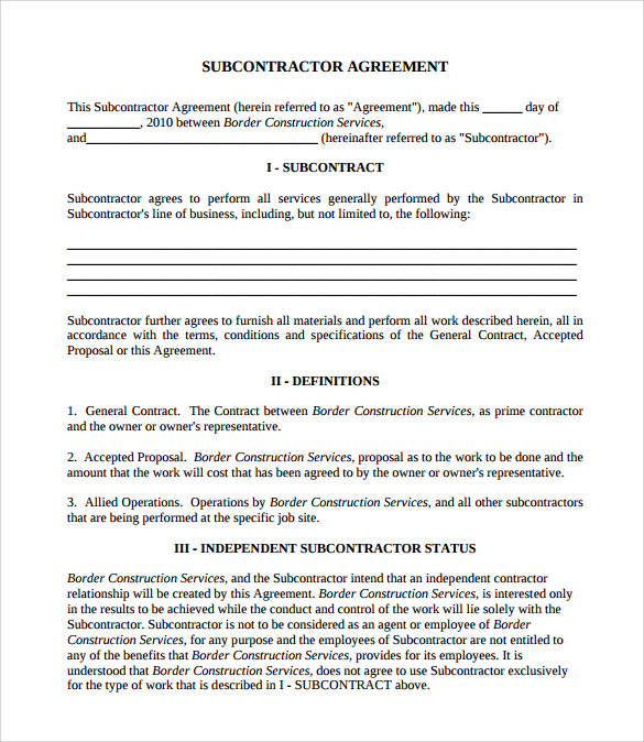 Subcontractor Contract Template   Download Documents In Pdf