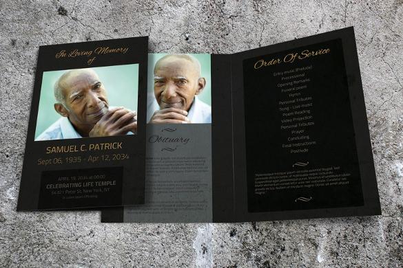 dark funeral program brochure template download