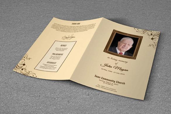 psd funeral program brochure template