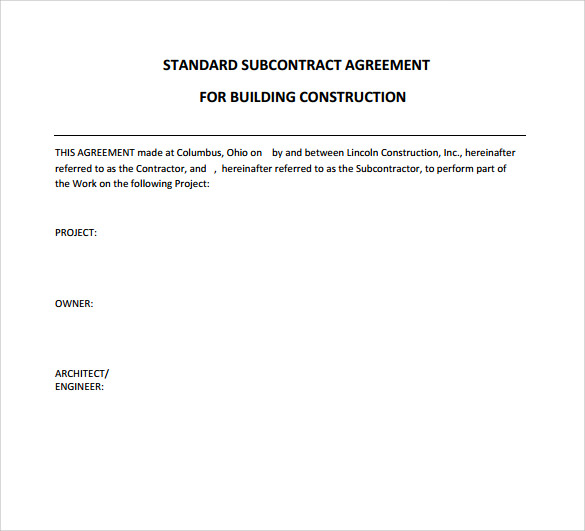 Subcontractor Contract Template - 10+ Download Documents in PDF