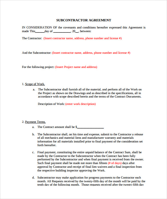 Subcontractor Contract Template 10 Download Documents in PDF – Subcontractor Agreement Template