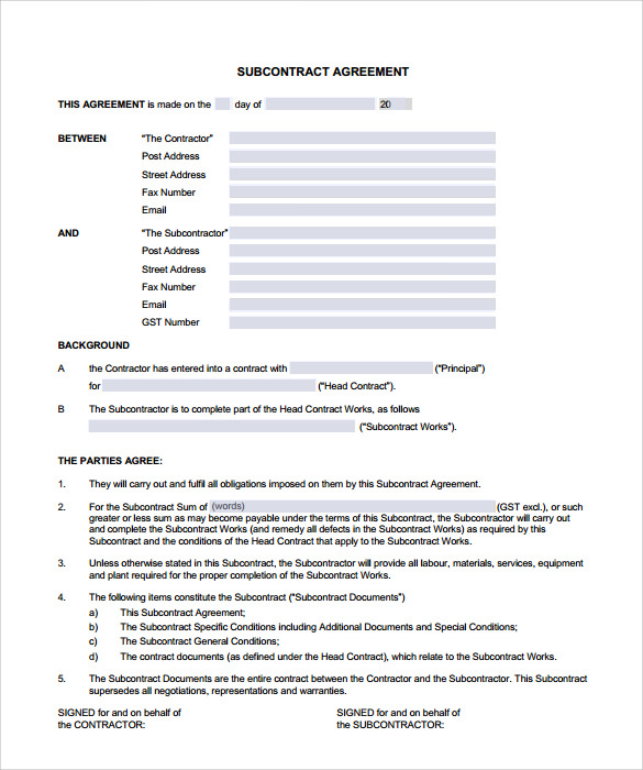 Subcontractor Contract Sle Images Free Subcontractor - Subcontractor contract template
