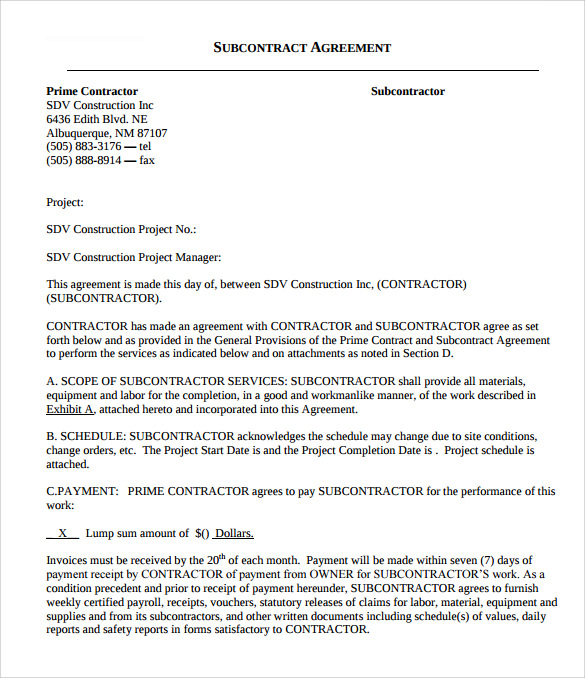 subcontractors agreement template - 8 subcontractor contract templates to download for free
