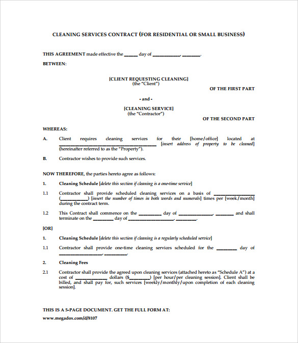 Cleaning services contract template janitorial services for Cleaning service contracts templates