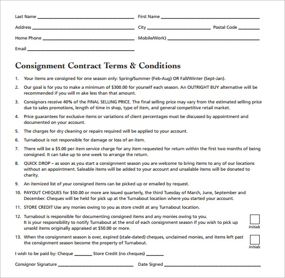 Sample Consignment Contract  Consignment Contracts Template