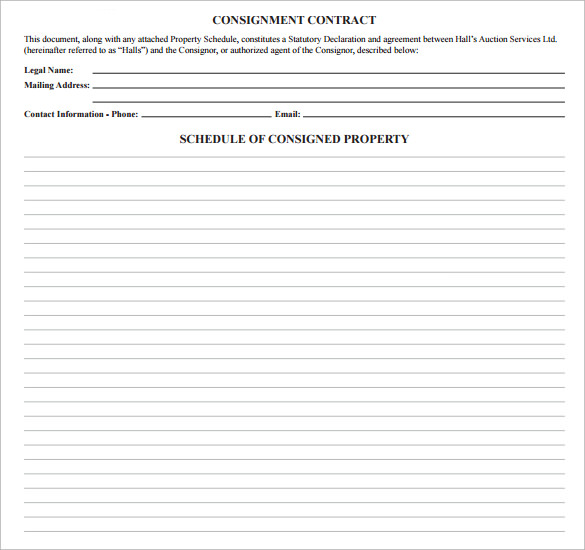 downloadable consignment contract