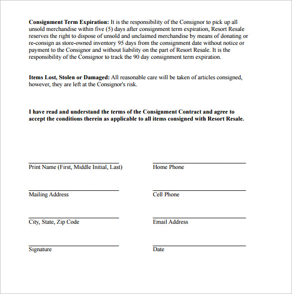 example consignment contract
