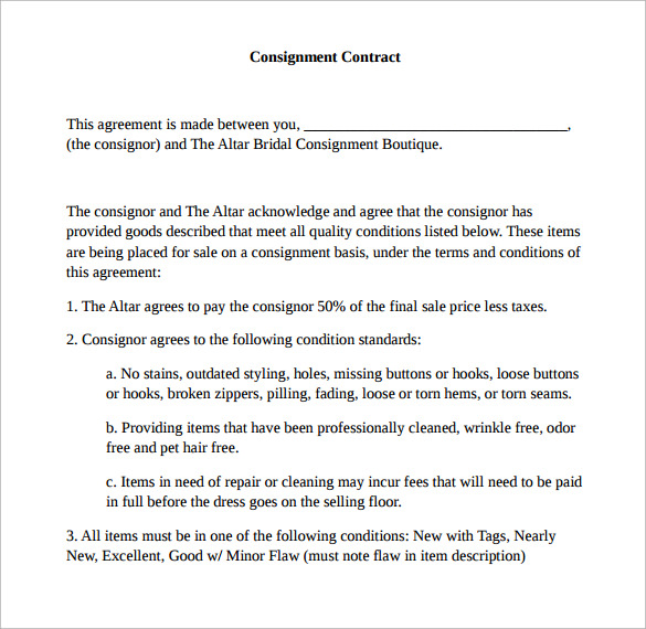 altar consignment contract