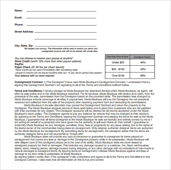 Pin Sample Consignment Contract Wording Pdf On Pinterest