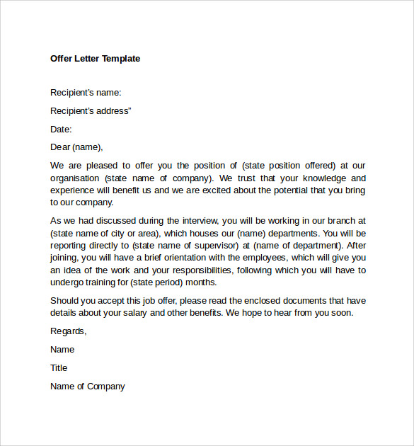 12 Sample Offer Letter Templates     Free Examples   Format VAHv0mer