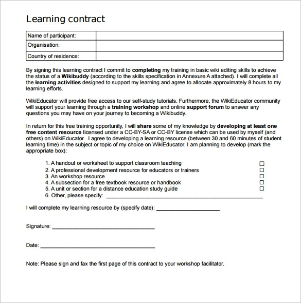 Learning Contract Template   Download Free Documents In Pdf Word