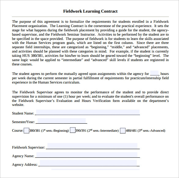 fieldwork learning contract