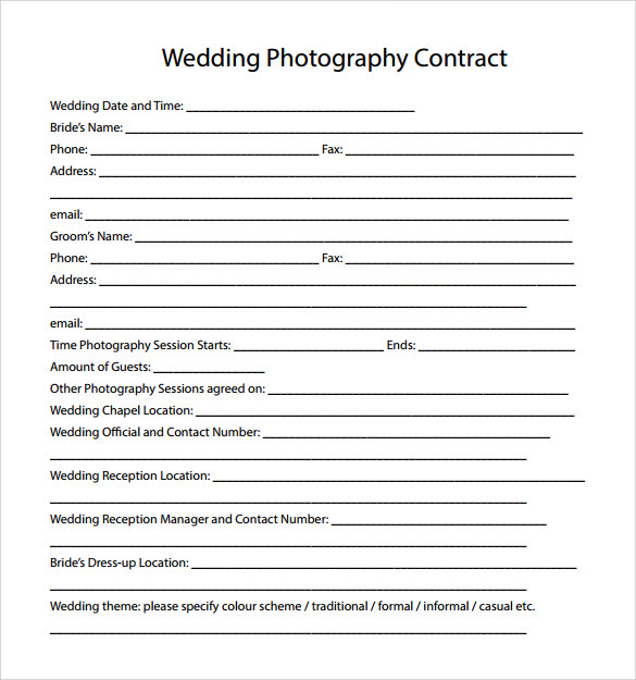 Wedding Photography Contract Template   Download Free