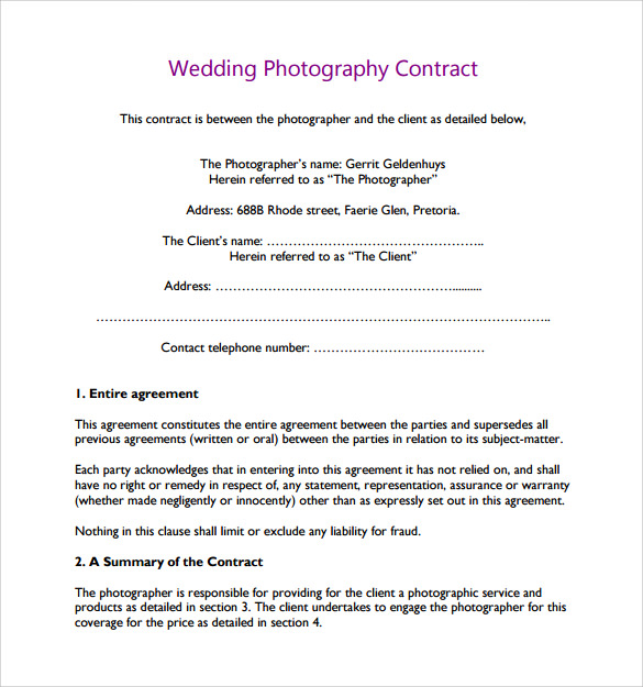 Wedding Photography Contract Template   Download Free Documents