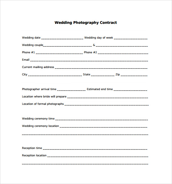 Downloadable Wedding Photography Contract Template