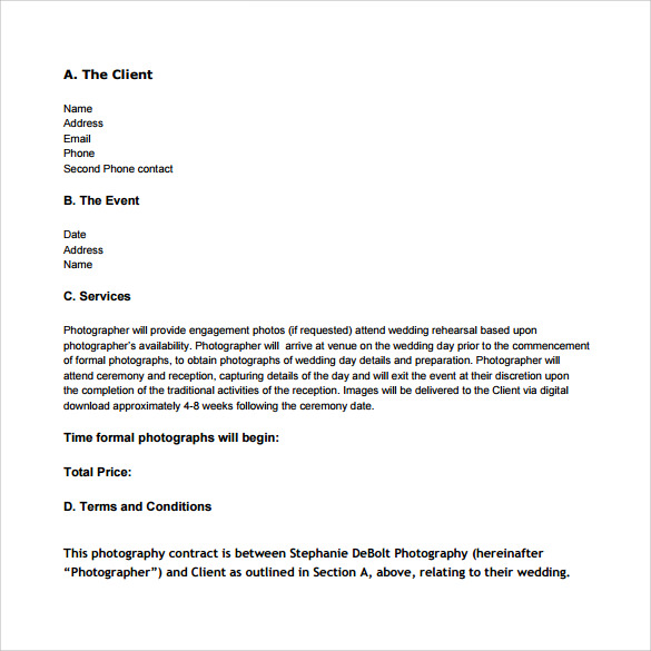 14+ Wedding Photography Contract Template