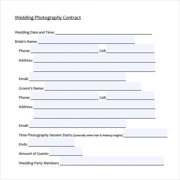 wedding photography contract template to print